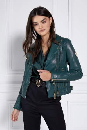Emerald Green Biker Jacket