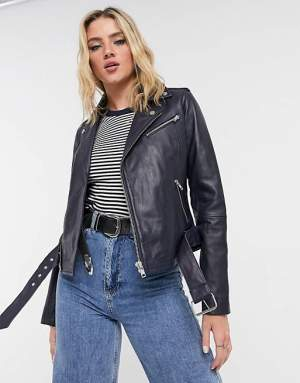 Leather Biker Jacket Navy