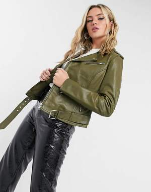 Leather Biker Jacket Khaki