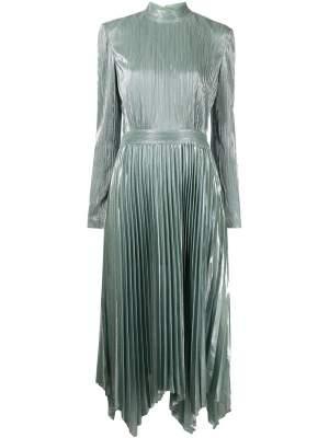 Pleated Metallic Midi Dress