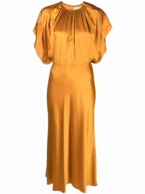 Bias Cut midi Dress Gold